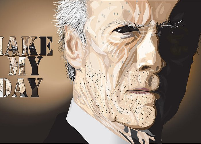 Clint Greeting Card featuring the digital art Eastwood by Mike Haslam