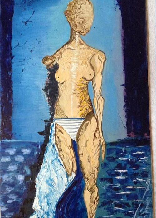 Woman Stripes Bricks Blue Water Silhouette Texture Desease Figure Greeting Card featuring the painting Eaten Alive by Costin Tudor