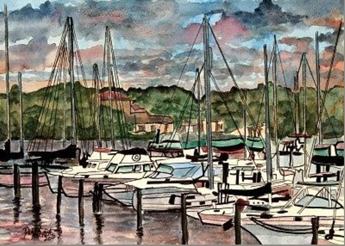 Sailboat Greeting Card featuring the painting Eau Gallie Seascape painting by Derek Mccrea