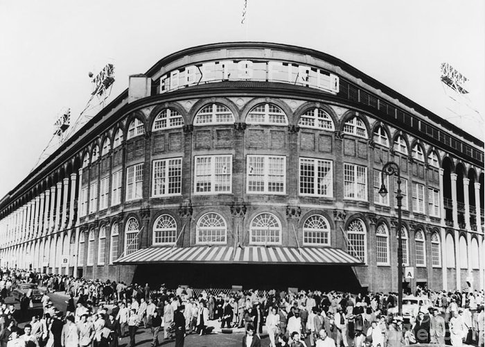 Historic Greeting Card featuring the photograph Ebbets Field, Brooklyn, Nyc by Photo Researchers