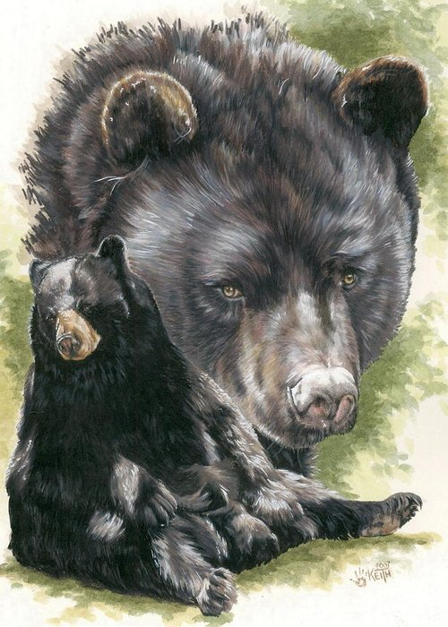 Black Bear Greeting Card featuring the mixed media Ebony by Barbara Keith