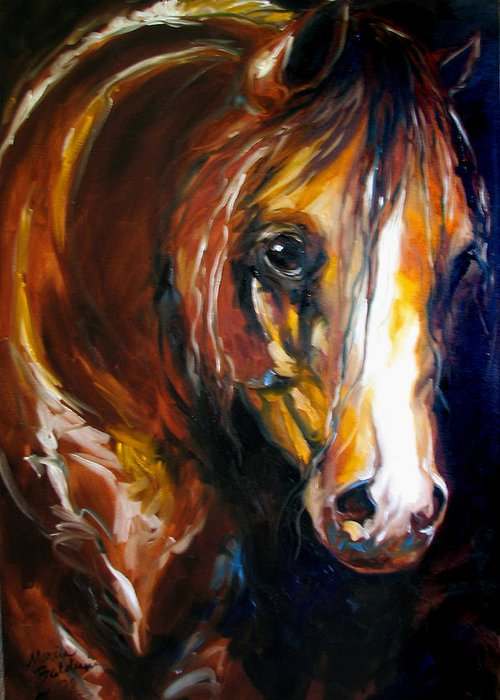 Horse Greeting Card featuring the painting Ebony Night Equine by Marcia Baldwin