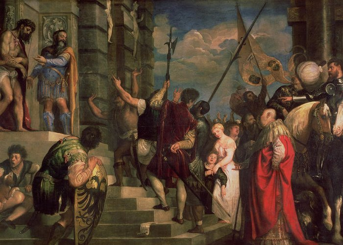 Titian Greeting Card featuring the painting Ecce Homo, 1543 by Titian