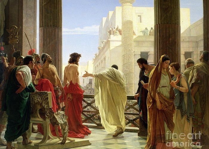 Ecce Greeting Card featuring the painting Ecce Homo by Antonio Ciseri