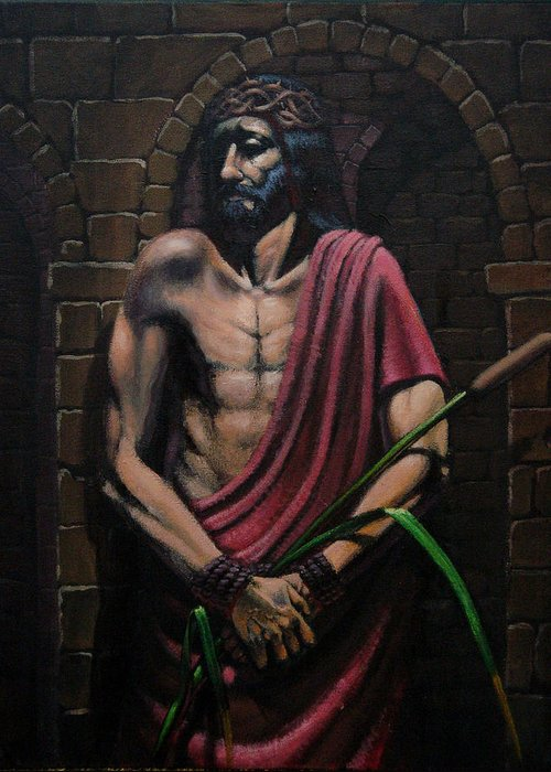 Religious Greeting Card featuring the painting Ecce Homo by Mariusz Loszakiewicz