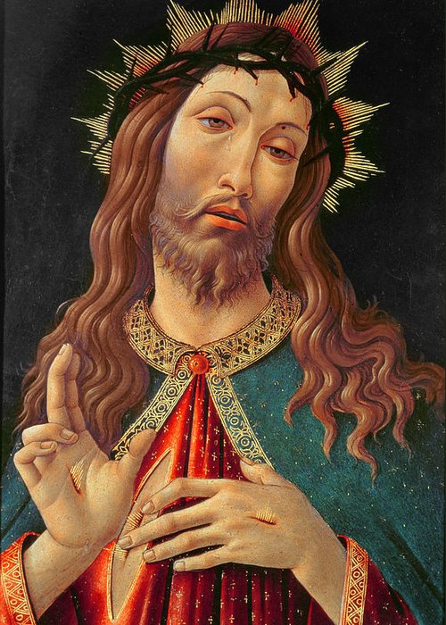 Ecce Greeting Card featuring the painting Ecce Homo Or The Redeemer by Botticelli