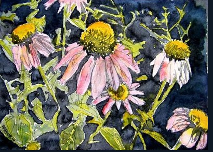 Echinacea Greeting Card featuring the painting Echinacea Coneflower 2 by Derek Mccrea