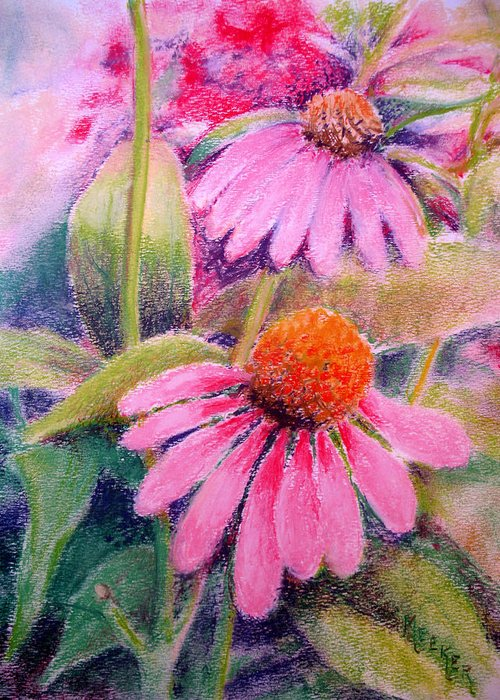 Floral Greeting Card featuring the painting Echinacea Duo by Bill Meeker