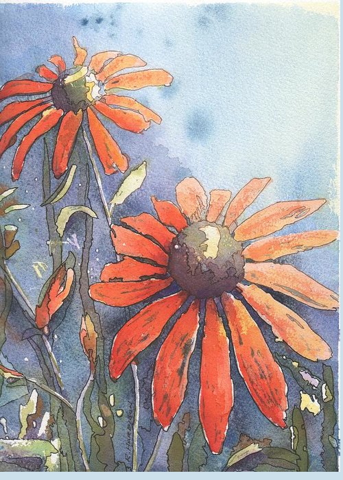 Echinacea Greeting Card featuring the painting Echinacea by Robynne Hardison