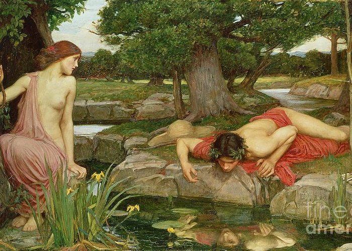 John William Waterhouse Greeting Card featuring the painting Echo And Narcissus by John William Waterhouse