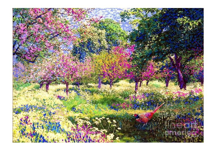 Floral Greeting Card featuring the painting Echoes from Heaven, Spring Orchard Blossom and Pheasant by Jane Small