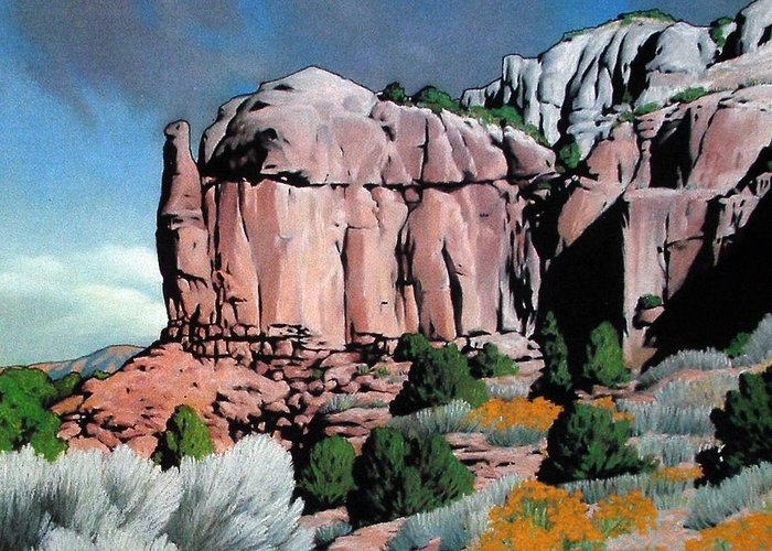 New Mexico Greeting Card featuring the painting Echoes by Kevin Lawrence Leveque