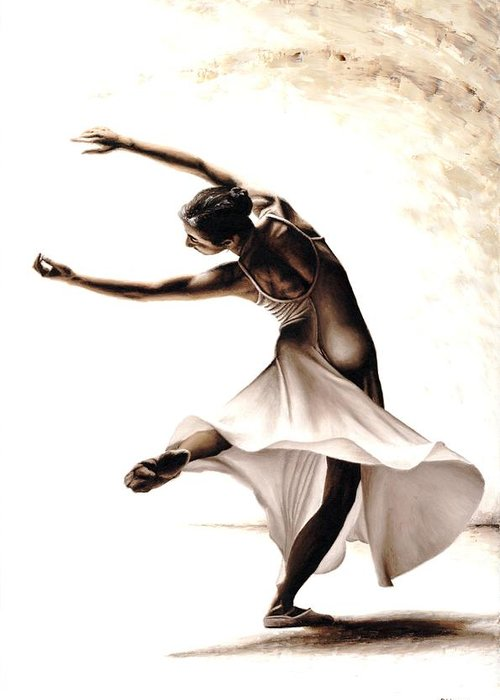 Dancer Greeting Card featuring the painting Eclectic Dancer by Richard Young
