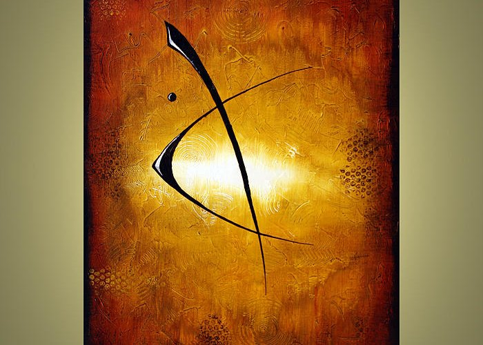 Abstract Greeting Card featuring the painting Eclipse by Jacob Pazera