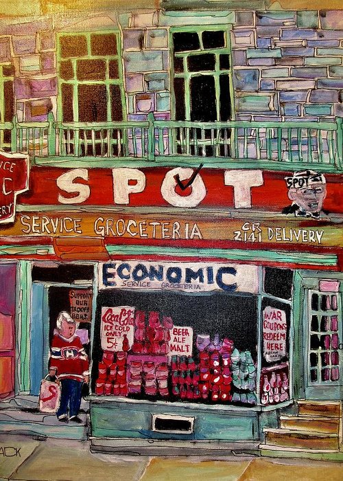 Food Store Greeting Card featuring the painting Economic On Laurier by Michael Litvack