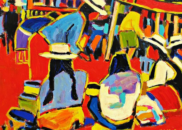 Paintings Greeting Card featuring the painting Ecuador Street Market by Brian Simons