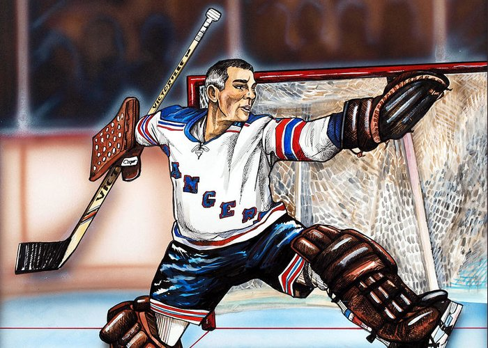 New York Rangers Greeting Card featuring the painting Eddie Giacomin by Dave Olsen