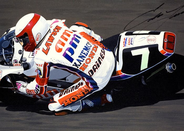 Eddie Lawson Greeting Card featuring the painting Eddie Lawson - Suzuka 8 Hours by Jeff Taylor