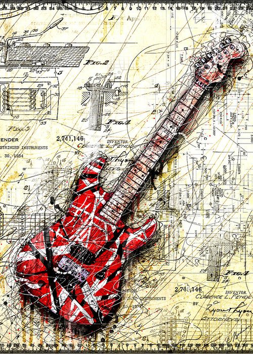 Red Guitar Greeting Cards