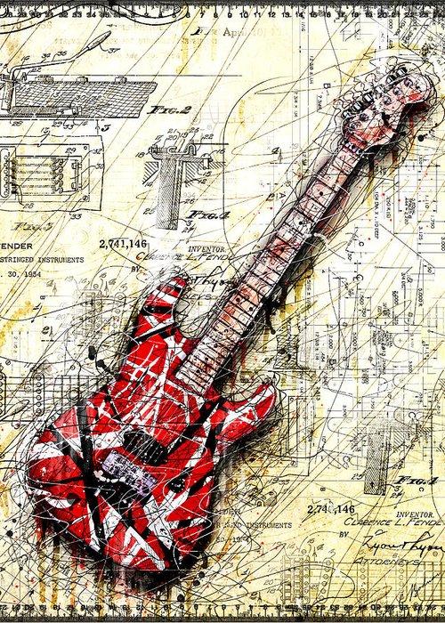 Red Guitar Digital Art Greeting Cards
