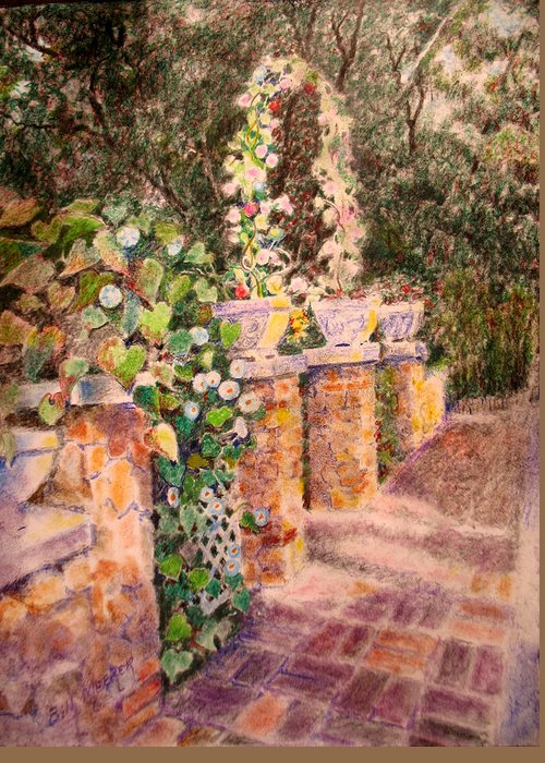 Garden Entry Greeting Card featuring the painting Eden Entry by Bill Meeker