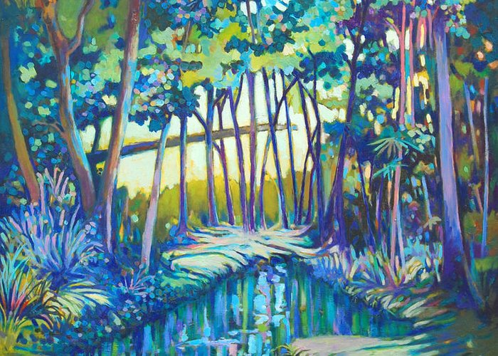 Landscape Greeting Card featuring the painting Eden by Glenford John