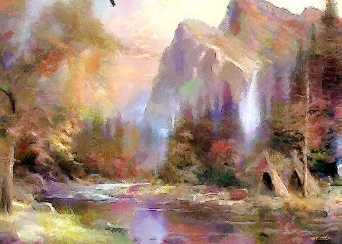 Scenery Greeting Card featuring the painting Eden by Wayne Pascall