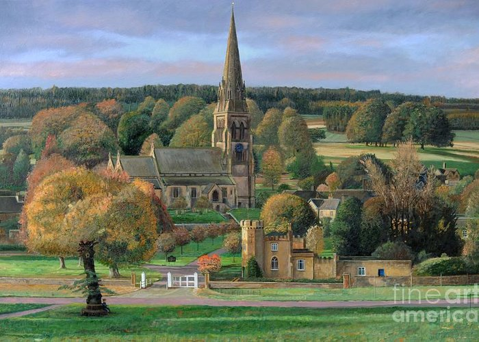 Peak District; Pig; Countryside; English Landscape; Architecture; Church; Village; Estate; Landscape; Chatsworth; Edensor; Chatsworth Park; Tree; Trees; Man Sitting On Bench Greeting Card featuring the painting Edensor - Chatsworth Park - Derbyshire by Trevor Neal