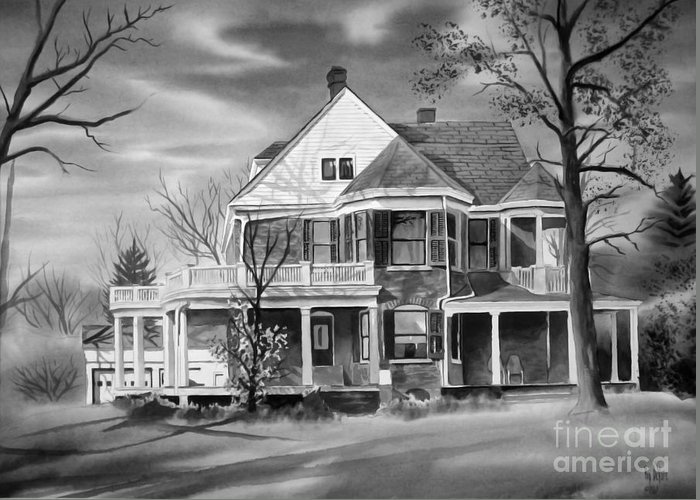 Grayscale Greeting Card featuring the painting Edgar Home Bw by Kip DeVore