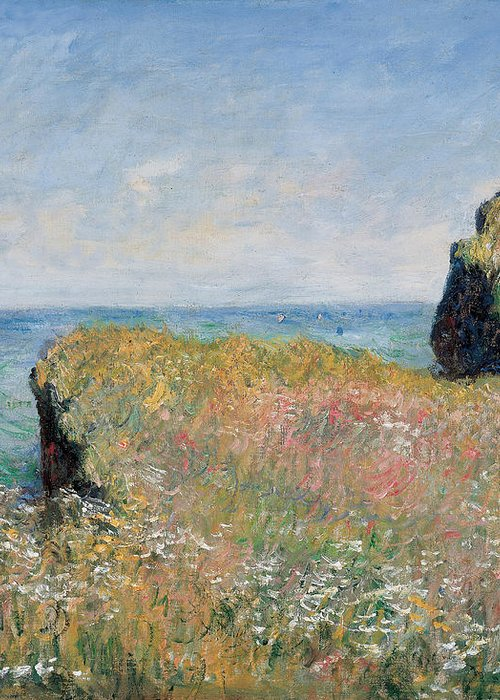 Monet Greeting Card featuring the painting Edge Of The Cliff Pourville by Claude Monet