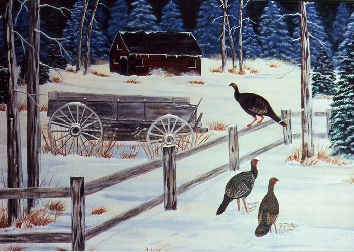 Wildlife Turkeys Landscape Snow Winter Birds Greeting Card featuring the painting Edge Of The Field by Eileen Blair
