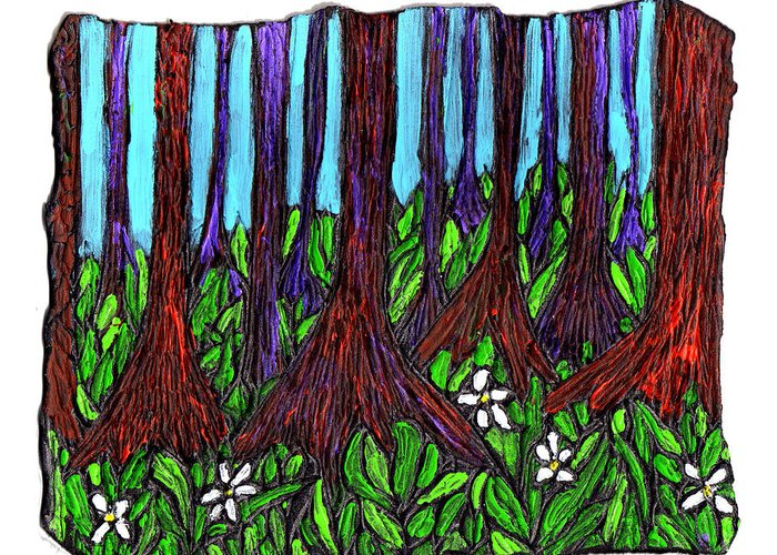 Trees Greeting Card featuring the painting Edge Of The Swamp by Wayne Potrafka