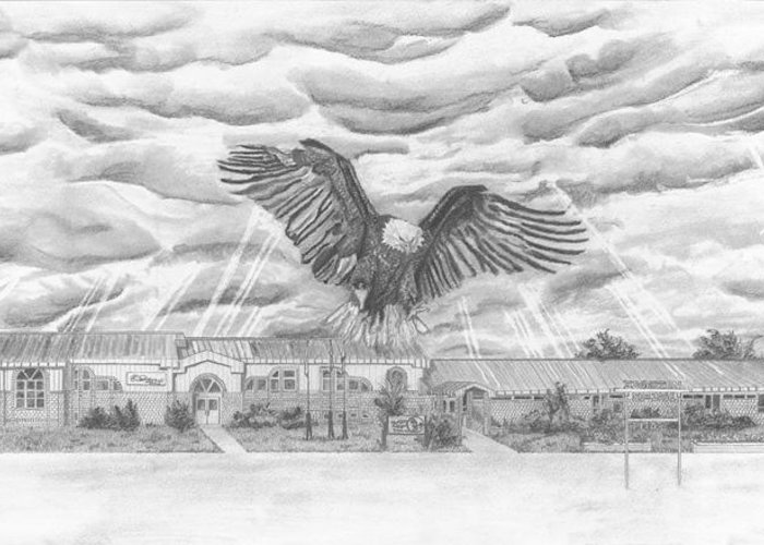 Eagle Greeting Card featuring the drawing Edgerton School by Dean Herbert