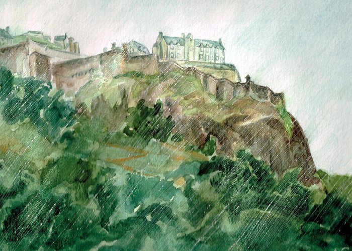 Castle Greeting Card featuring the painting Edinburgh Castle by Andrew Gillette