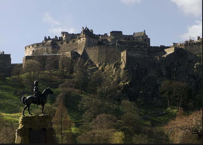 Ancient Greeting Card featuring the photograph Edinburgh Castle by Mike Lester