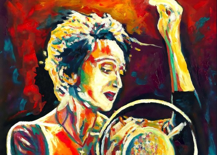 Actress Greeting Card featuring the painting Edith Piaf- La Mome by Vel Verrept