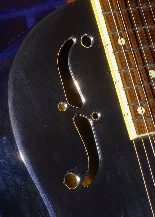 Music Greeting Card featuring the photograph Eds Guitars Steel1 by Art Ferrier