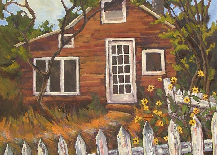 Old House Greeting Card featuring the painting Ed's Place by Gina Grundemann