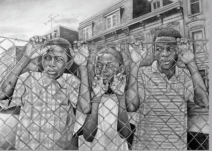 Pencil Greeting Card featuring the drawing Education Is The Way Out by Curtis James