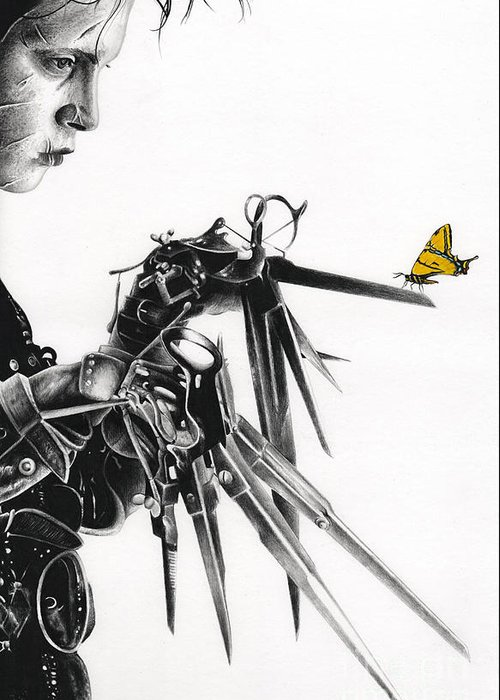 Edward Scissorhands Greeting Card featuring the drawing Edward And A Butterfly by James Holko