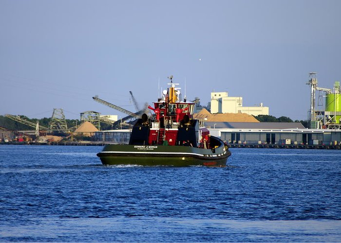 Tugboat Greeting Card featuring the photograph Edward J. Moran by Don Prioleau