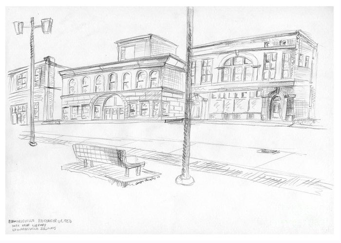 Structure Greeting Card featuring the drawing Edwardsville Reconstructed by Joseph A Langley