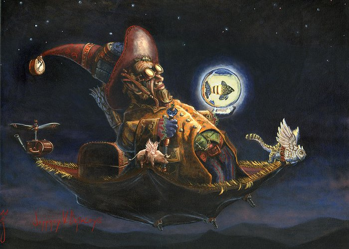 Wizard Greeting Card featuring the painting Edwin And Norbert At It Again by Jeff Brimley