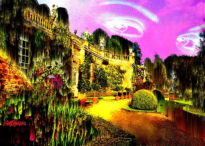 Mansion Greeting Card featuring the digital art Eerie Estate by Seth Weaver