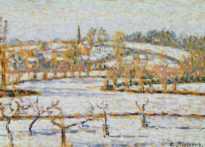 Effect Greeting Card featuring the painting Effect Of Snow At Eragny by Camille Pissarro