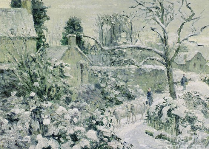 Effect Greeting Card featuring the painting Effect Of Snow With Cows At Montfoucault by Camille Pissarro