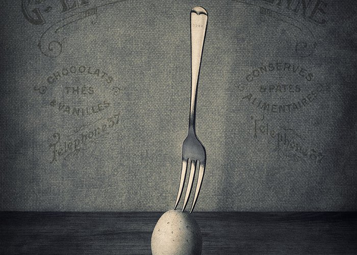 Egg Greeting Card featuring the photograph Egg And Fork by Ian Barber