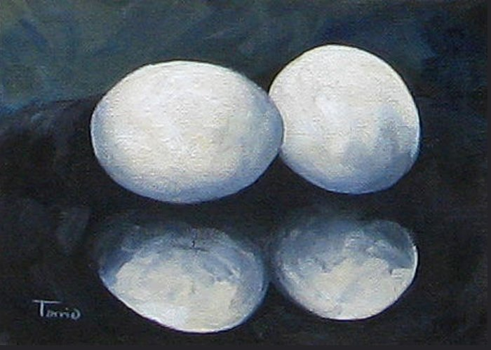 Egg Greeting Card featuring the painting Egg Reflections by Torrie Smiley