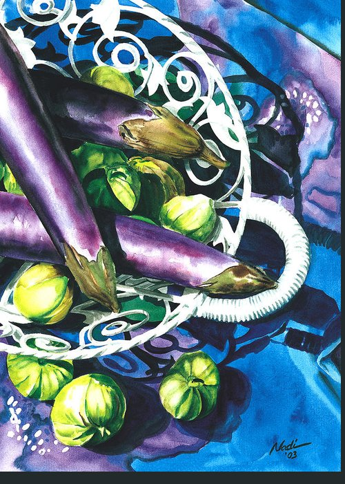 Food Greeting Card featuring the painting Eggplants by Nadi Spencer