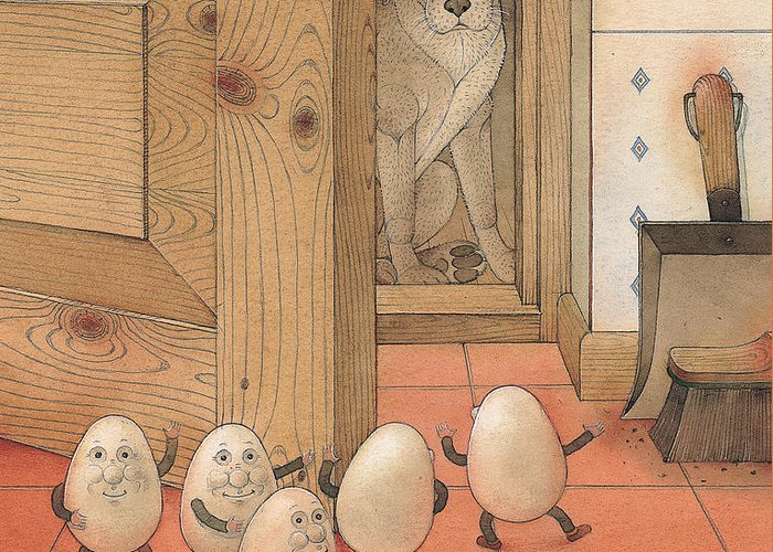 Kitchen Red Brown Dog Eggs Greeting Card featuring the painting Eggs And Dog by Kestutis Kasparavicius